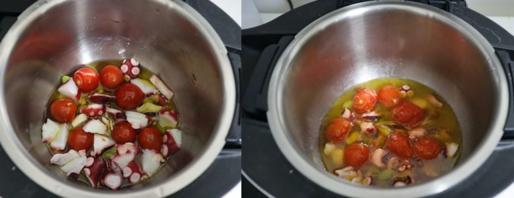 ホットクックで作るタコと銀杏とミニトマトのアヒージョレシピ