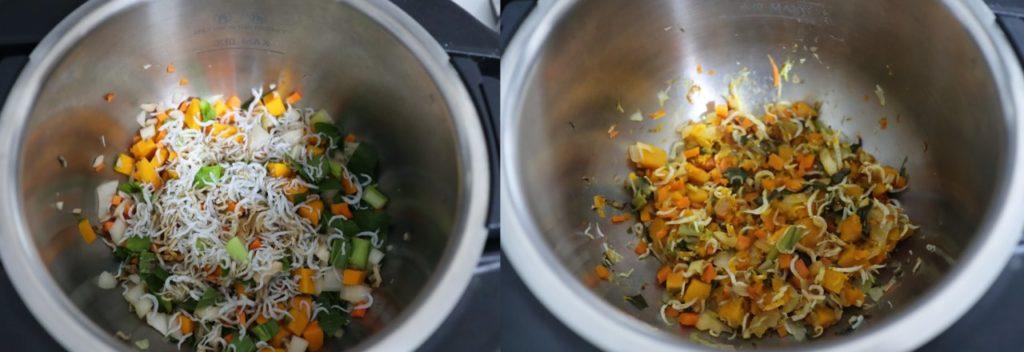 ホットクックでしらす干しと野菜の蒸し物