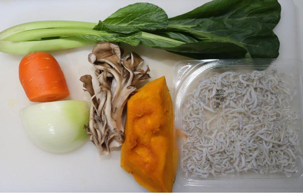 ホットクックでしらす干しと野菜の蒸し物の材料