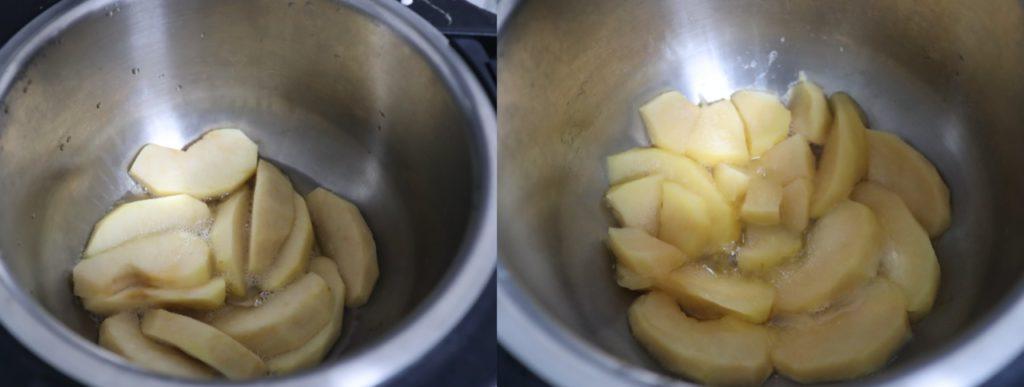 ホットクックでりんごのコンポートの作り方