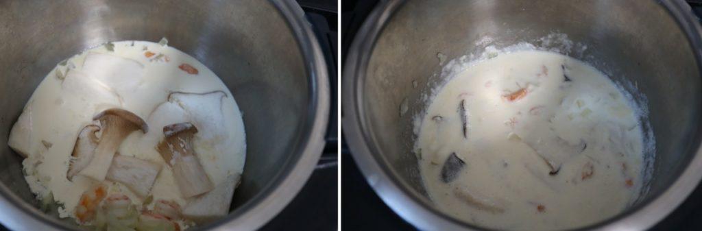 ホットクックでエビとアボカドとエリンギのクリームパスタのレシピ