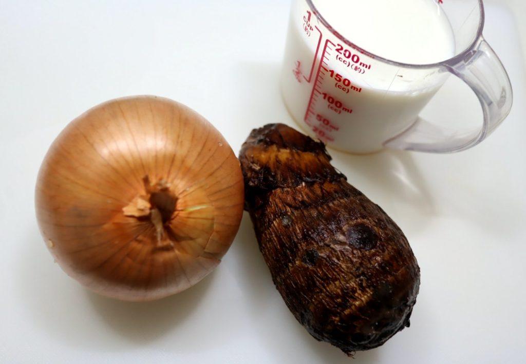 里芋のポタージュ材料