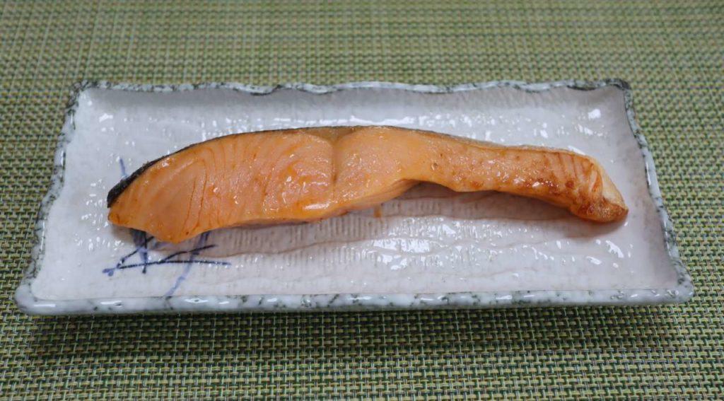 ヘルシオオーブンのウォーターグリル減塩での塩鮭出来上がり