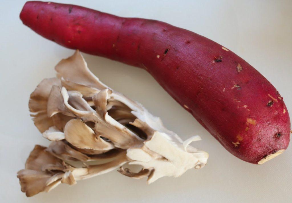 ホットクックで作る幼児食:サツマイモと舞茸の炊き込みご飯の材料