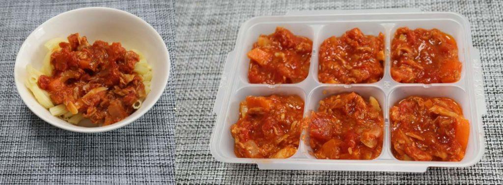 ホットクックで作る幼児食:ツナとトマトのマカロニの出来上がり