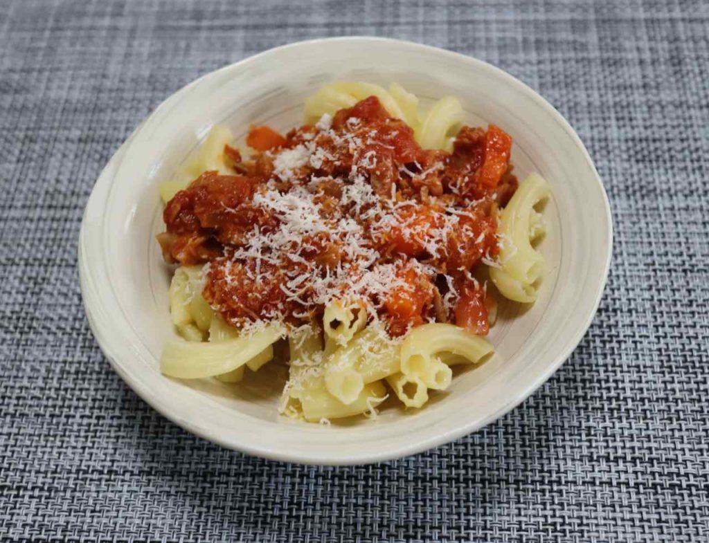 ホットクックで作る幼児食:ツナとトマトのマカロニの出来上がりと味