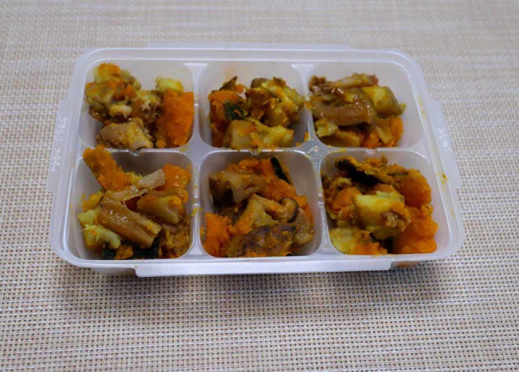 ホットクックで作る幼児食:かぼちゃと根菜と豚肉の無水煮物出来上がり