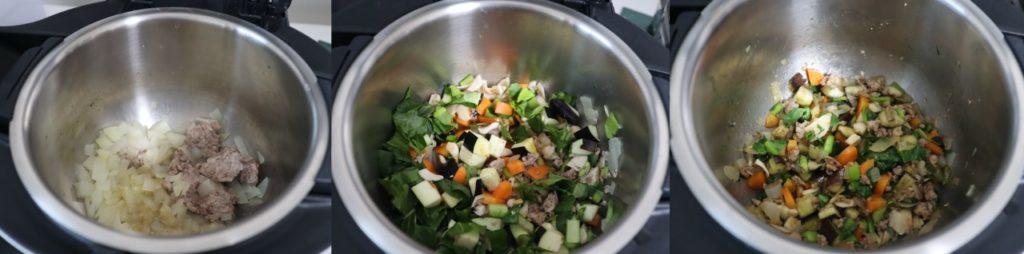 ホットクックで幼児食:ひき肉と小松菜の炒めもののレシピ