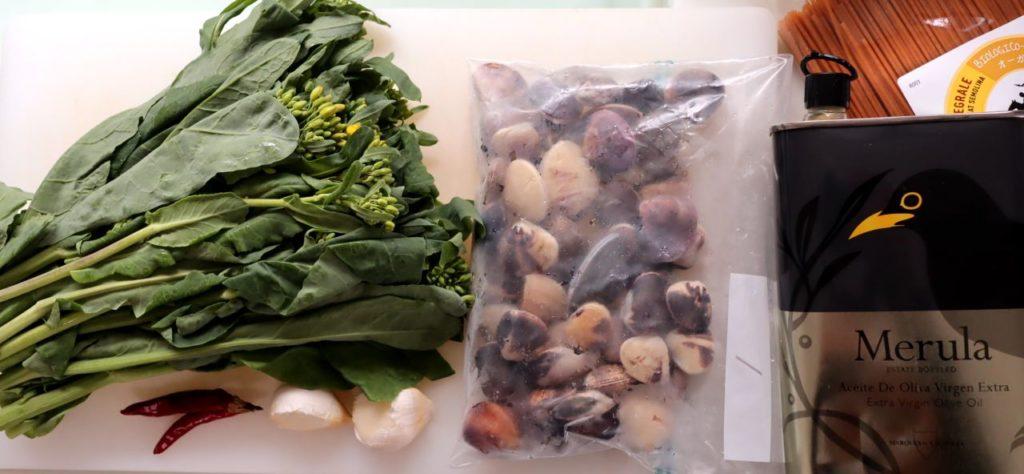 ホットクックで作るハマグリと菜の花のパスタの材料