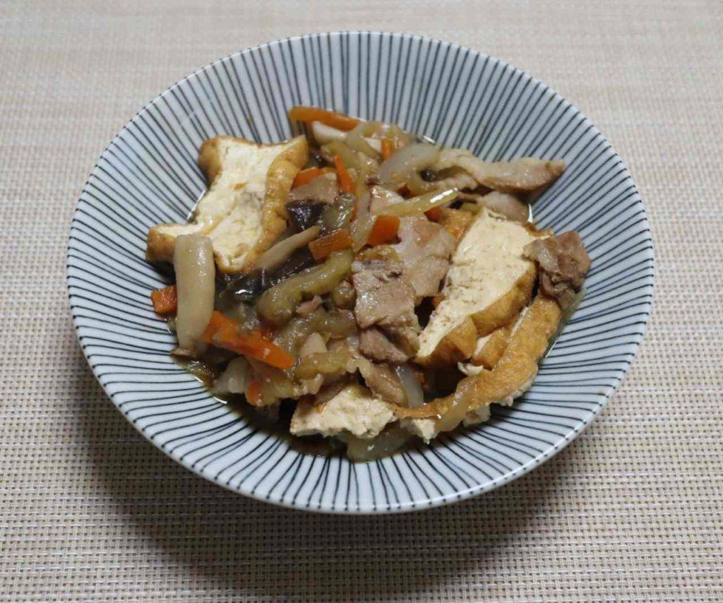 豚肉と厚揚げの無水煮物の出来上がりと味