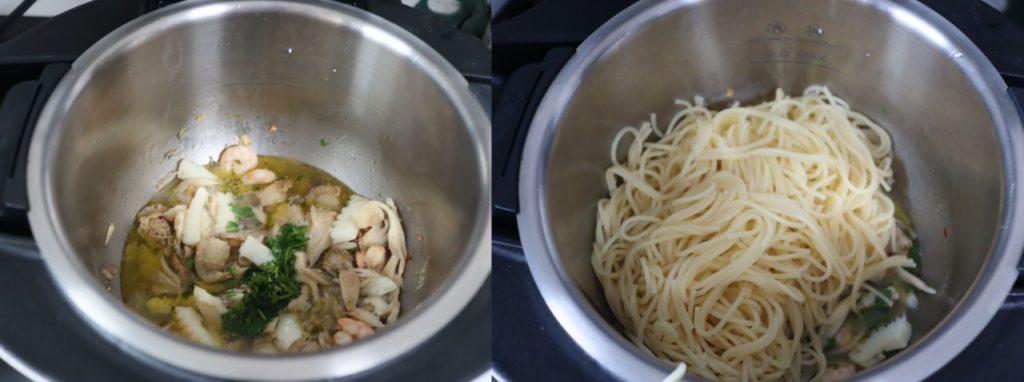 シーフードのペペロンチーノのレシピ